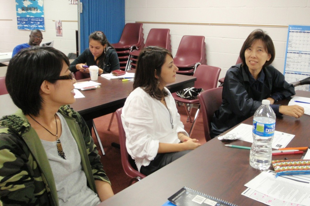 The students speak English in class. (photo by tcarr)