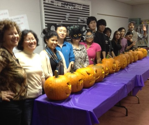 Level 1 & Level 2 display their Jack-O-Lanterns!  (photo by LUribe)