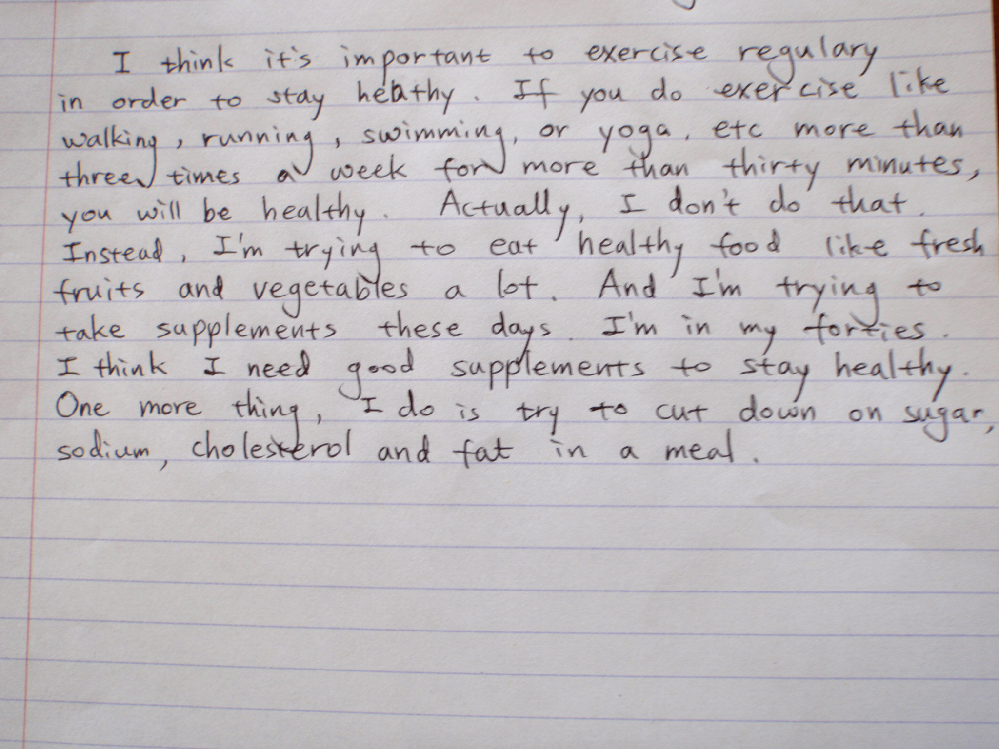 erv students write about staying healthy english language olympus digital camera essay 1