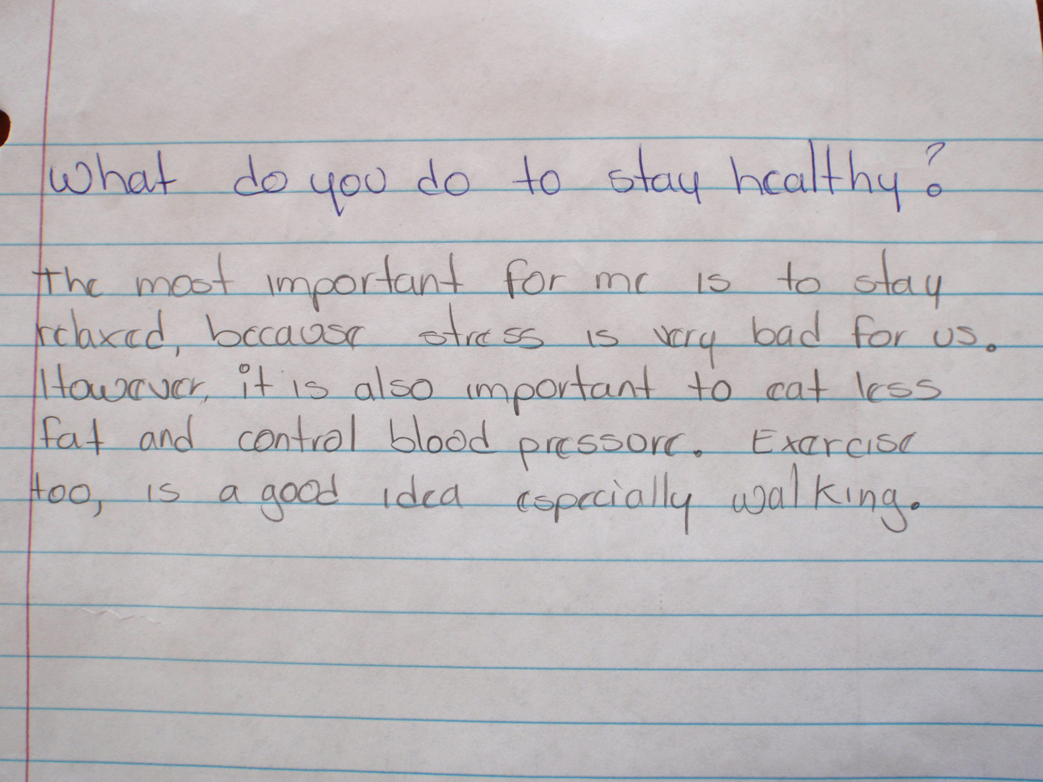 erv students write about staying healthy english language olympus digital camera