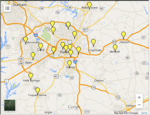 Map of Wake County Public Libraries