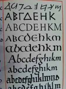"Evolution of the Alphabet (picture from ""The 26 Letters"" by Oscar Ogg, 1948, taken 10/17/14 by JLN)"