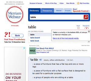 Merriam-Webster online dictionary (screenshot by instructor Jaimie Newsome, 11/2014)
