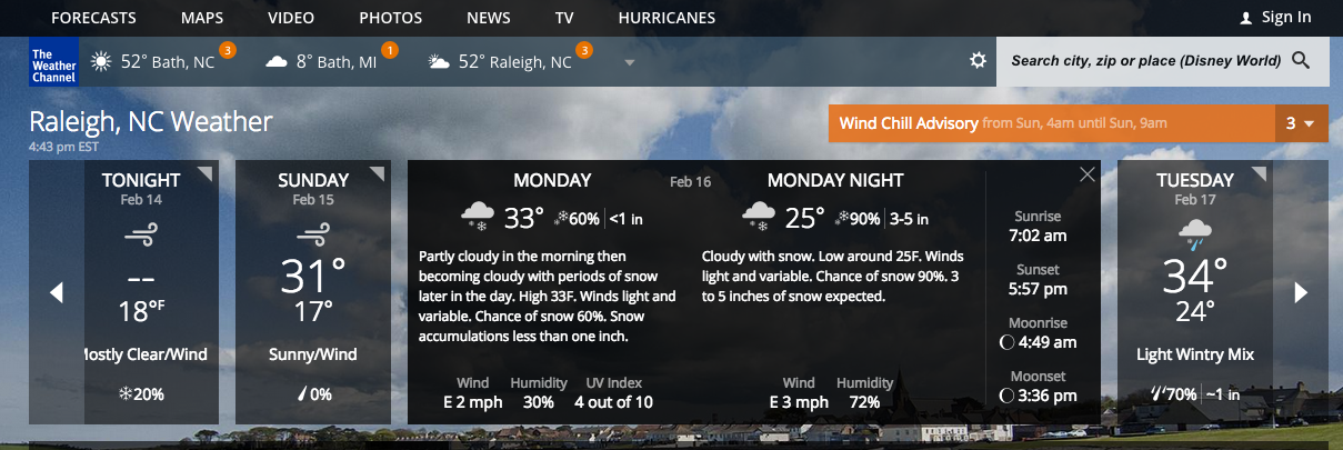 Weather forecast (screenshot by WT instructor Jaimie Newsome)