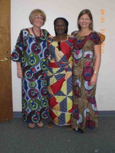 Dorothy and teacher Angela Bennett, wearing African dresses from a student