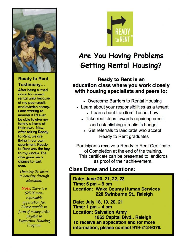eady to Rent Workshop June/ July Dates